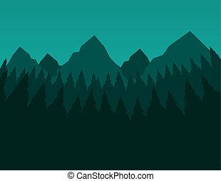 montagnes, arbres verts