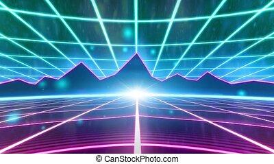 montagnes, arcade, wireframe, vhs, jeu, vecteur, vidéo, retro, 80s, bande, intro, paysage