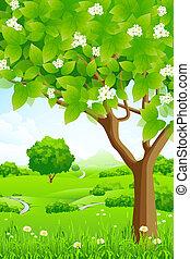 montagnes, arrière-plan vert, arbres