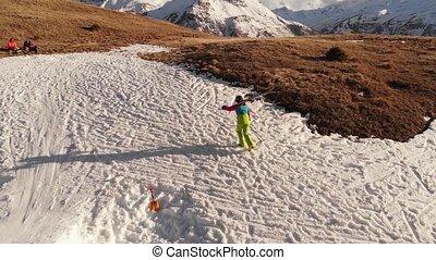 montagnes, athlète, montées, aérien, tache, pente, kicker, ...