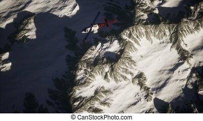 montagnes, au-dessus, hélicoptère, neige