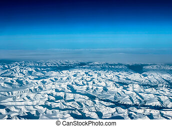 montagnes, avion, glace, vue
