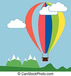montagnes, balloon, au-dessus, coloré, air