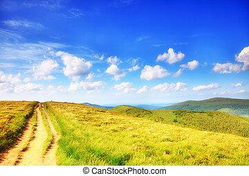 montagnes, bieszczady, pologne, paysage, collines