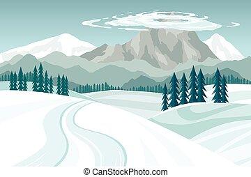 montagnes, bleu, paysage, ciel, neigeux, nuages, hiver