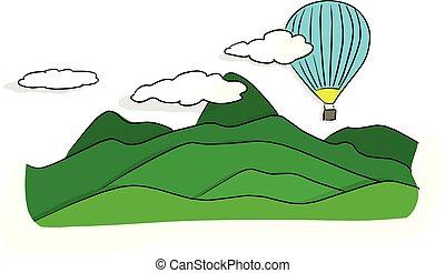 montagnes bleues, croquis, griffonnage, balloon, lignes, isolé, illustration, air, chaud, vecteur, arrière-plan vert, dessiné, blanc, main, paysage, noir