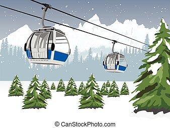 montagnes bleues, hiver, funiculaire, recours, ascenseur, devant, ski, majestueux