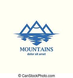 montagnes bleues, reflet, carte affaires, marquer, résumé, idée, lake., logo, constitué, identity.