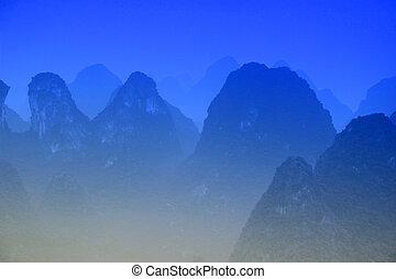 montagnes bleues, rivière, guangxi, -, li, mt, porcelaine,...