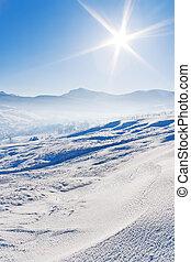 montagnes bleues, snowcovered, ciel, sous