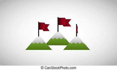 montagnes, business, reussite, surmontez, début, drapeau