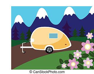 montagnes, campeur