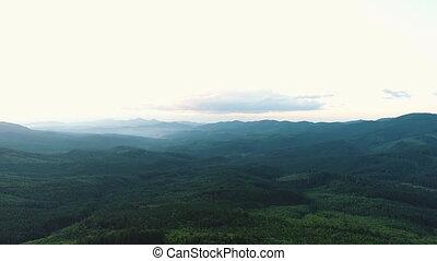 montagnes, carpathian, vue, aérien