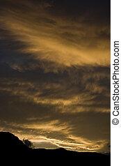 montagnes, caucas, coucher soleil