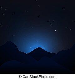montagnes, ciel étoilé, vector., nuit, paysage