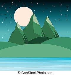 montagnes, collines, ciel étoilé, lune, nuit, paysage