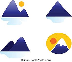 montagnes, collines, icônes, isolé, collection, blanc, ou