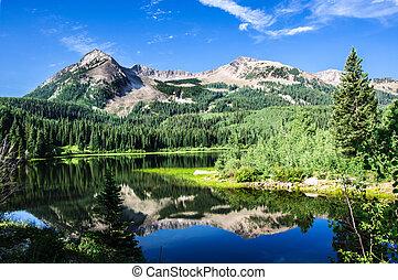 montagnes, colorado, lac