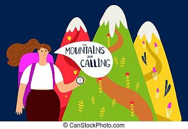 montagnes, concept, randonnée, alpinism, arrière-plan., vecteur, girl