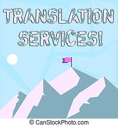 montagnes, concept, traduire, organisation, business, fournir, texte, projection, temps, jour, une, drapeau, parole, services., peak., mot, ombre, écriture, bannière, traduction, indiquer