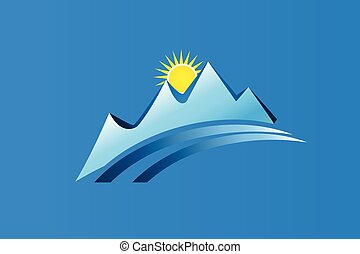 montagnes, conception, logo