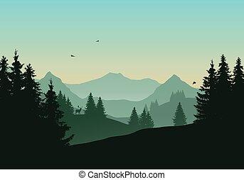 montagnes, conifère, vol ciel, cerf, illustration, matin, forêt, vecteur, vert, sous, oiseaux, paysage