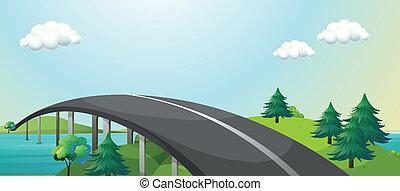 montagnes, connecter, courbe, deux, route