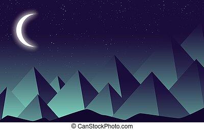 montagnes, contre, lune, croissant, fond, nuit