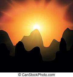 montagnes, coucher soleil, arrière-plan rouge, noir