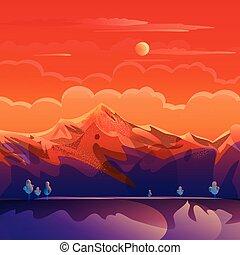 montagnes, coucher soleil, illustration, été, paysage