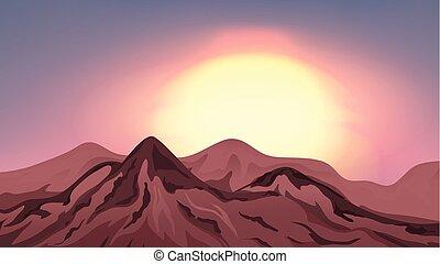 montagnes, coucher soleil, scène