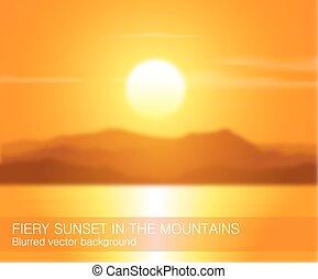 montagnes., coucher soleil, sur, paysage, brouillé
