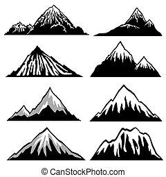 montagnes, crêtes, hillsides, neige, silhouettes, vecteur, couvert, pays montagne