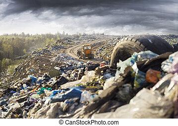 montagnes, déchets, landfill.