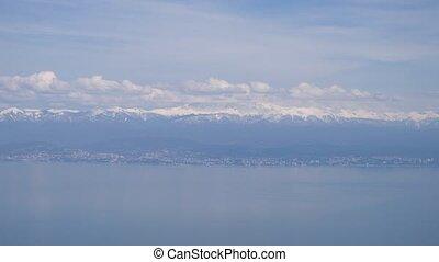 montagnes, décollage, ou, avion, 4k, mer, pendant, landing., vue