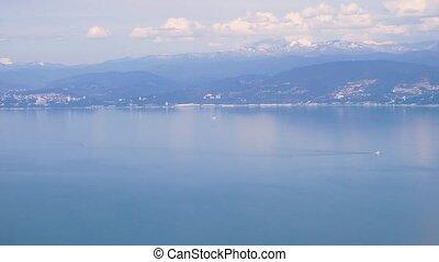 montagnes, décollage, ou, avion, mer, pendant, landing., vue