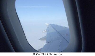 montagnes, décollage, plane., ou, avion, 4k, mer, pendant, aile, landing., vue