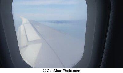 montagnes, décollage, plane., ou, avion, mer, pendant, aile, landing., vue