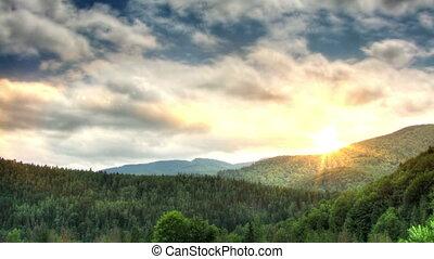 montagnes, défaillance, coucher soleil, temps