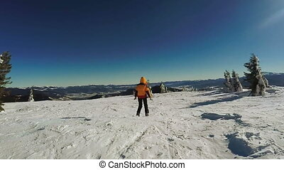 montagnes, descente, skis, neige, femme