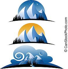 montagnes, dessin animé