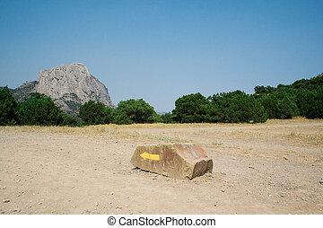 montagnes, direction, jaune, specifying, flèche, pierre
