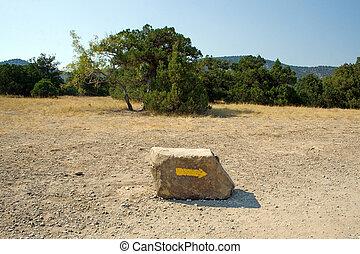 montagnes, direction, specifying, flèche, pierre