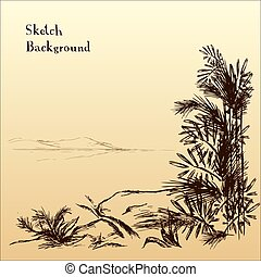 montagnes, distance, résumé, arbres, fond, bambou