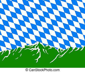 montagnes, drapeau, bavière