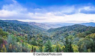 montagnes, enfumé, parc, national