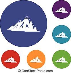 montagnes, ensemble, canadien, icônes