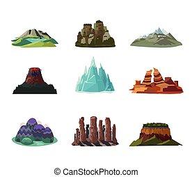 montagnes, ensemble, coloré, icônes