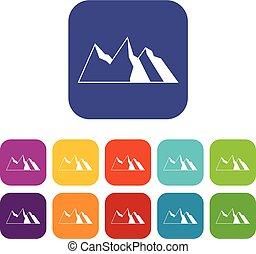 montagnes, ensemble, icônes