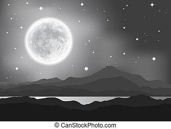 montagnes, entiers, illustration., paysage., sur, lune, lake., vecteur, nuit